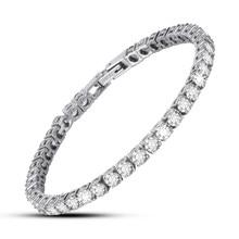 Jeroot-Bracelet pour Tennis en Zircon blanc et noir pour femmes, en acier inoxydable, 4mm de largeur
