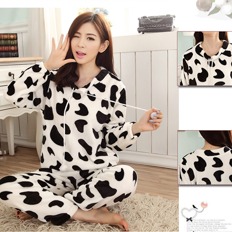 Women Pyjamas Sets Pajamas Sleepwear Suit Thick Warm Coral Flannel Nightgown Female Cartoon Animal Pijama Autumn Winter 17
