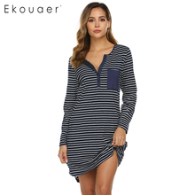 Ekouaer Herbst Nachthemd Frauen Striped Nachtwäsche Casual V ausschnitt Nachthemd Tasche Nachtwäsche Weibliche Chemise Sleep Kleid