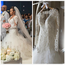 Lace Beaded Arabic Plus Size Mermaid Wedding Dresses Deep V neck Long Sleeves Bridal Dresses Sexy Vintage Wedding Gowns