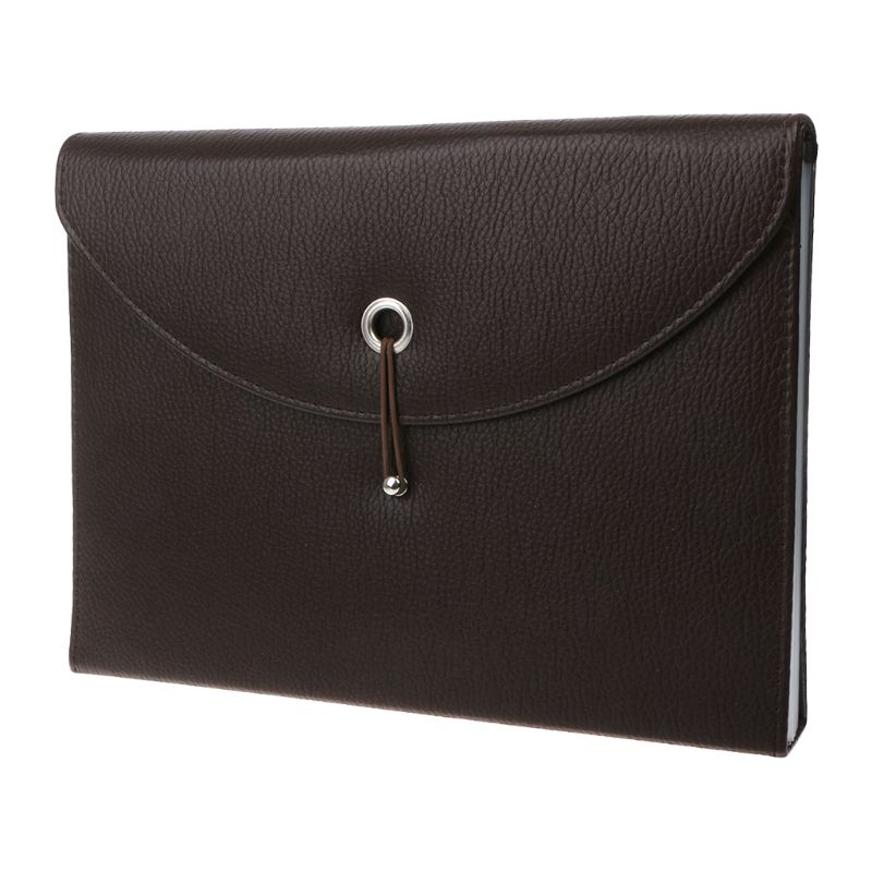 Fashion A4 Business Bag Men Lady Leather Pouch Paper File Folders Package Messenger Bags 13 Layers DXAC