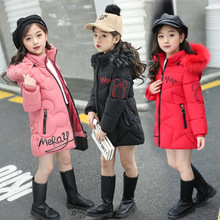 Jacket Cotton-Padded Winter Outerwear Down-Coats Hooded Thick-Fur-Collar Girl Kids Children