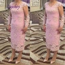 Vestidos de encaje de manga larga para madre de la novia de talla grande para bodas madrina novio vestidos de cena