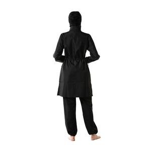 Image 5 - YONGSEN Mulheres Muçulmanos Swimwear Calças Encapuzados Burkinis Maiô Terno Esporte Moda Islâmica Hijab Três peça Elegante Beachwear