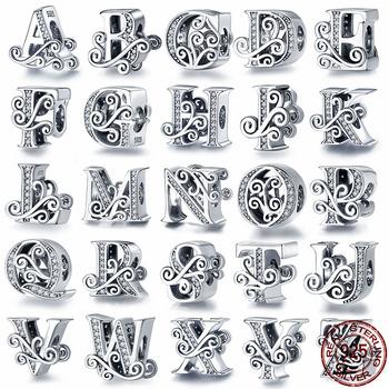PANDACH 100 prawdziwe 925 srebro alfabet literowy A-Z urok nazwa koralik Fit oryginalny bransoletka Pandora wisiorek biżuteria CMC030 tanie i dobre opinie CYRKON SILVER 925 sterling CN (pochodzenie) Codzienny sportowy Drobne 925 Sterling Silver charms Beads fit original Pandora Bracelet