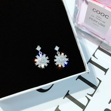 supersonic zircon earrings female Korean small and simple temperament with drilled snowflake exquisite earnails