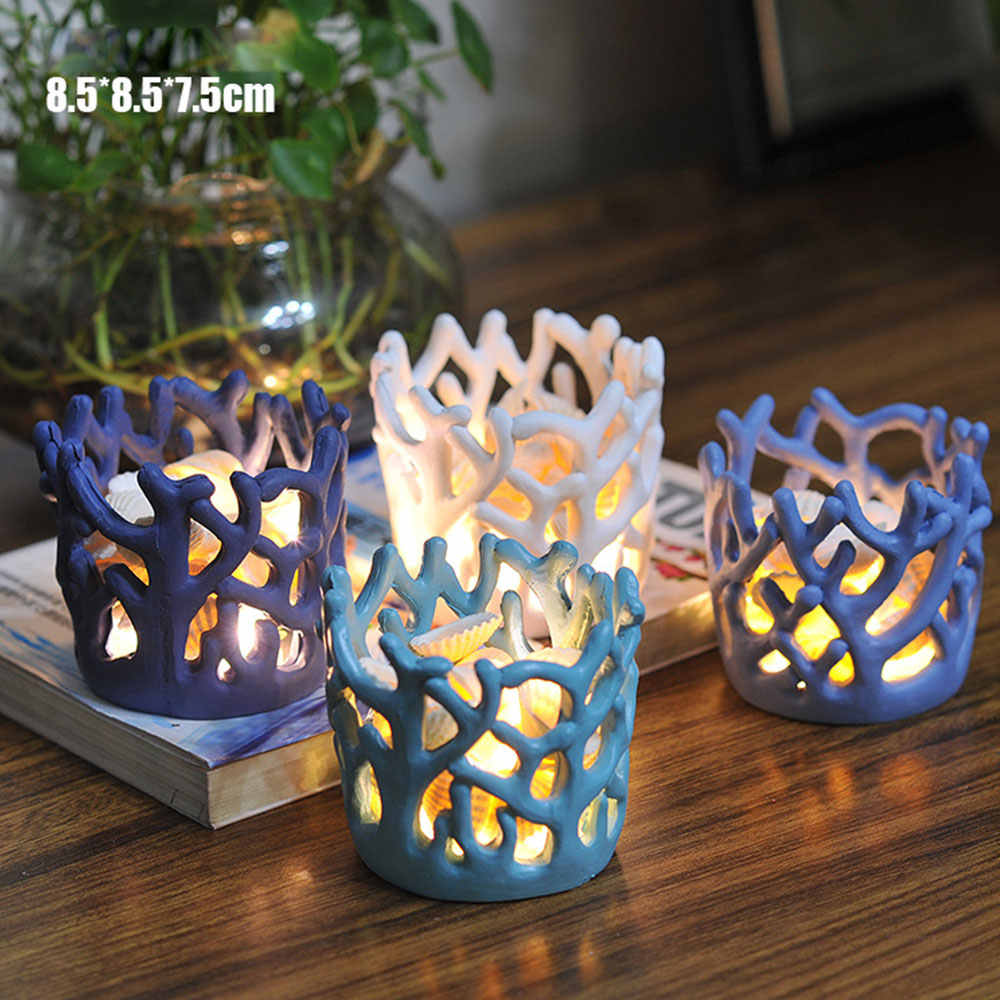4 Pcs Resin Coral Candlestick Cup Candle Holder Candlestick Table Lamp For Tea Light  Wedding Led Shell Lights Decoration