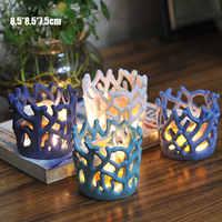 4 Pcs Della Resina Corallo Candeliere Tazza Supporto di Candela Candeliere Lampada da Tavolo per Il Tè di Nozze Luce Led Borsette Luci Decorazione