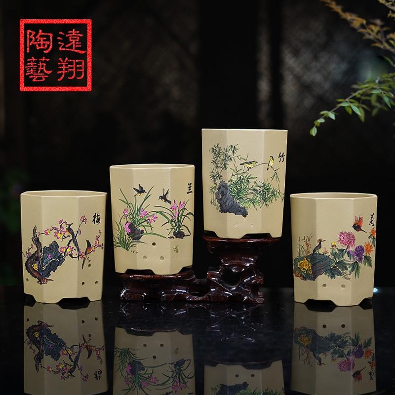 Yixing Clay Flowerpot Boutique Basin Blue Flowerpot Indoor Flower Flowerpot Ceramic Coloured Drawing Handmade Pots Flowerpot|Flower Pots & Planters| |  - title=