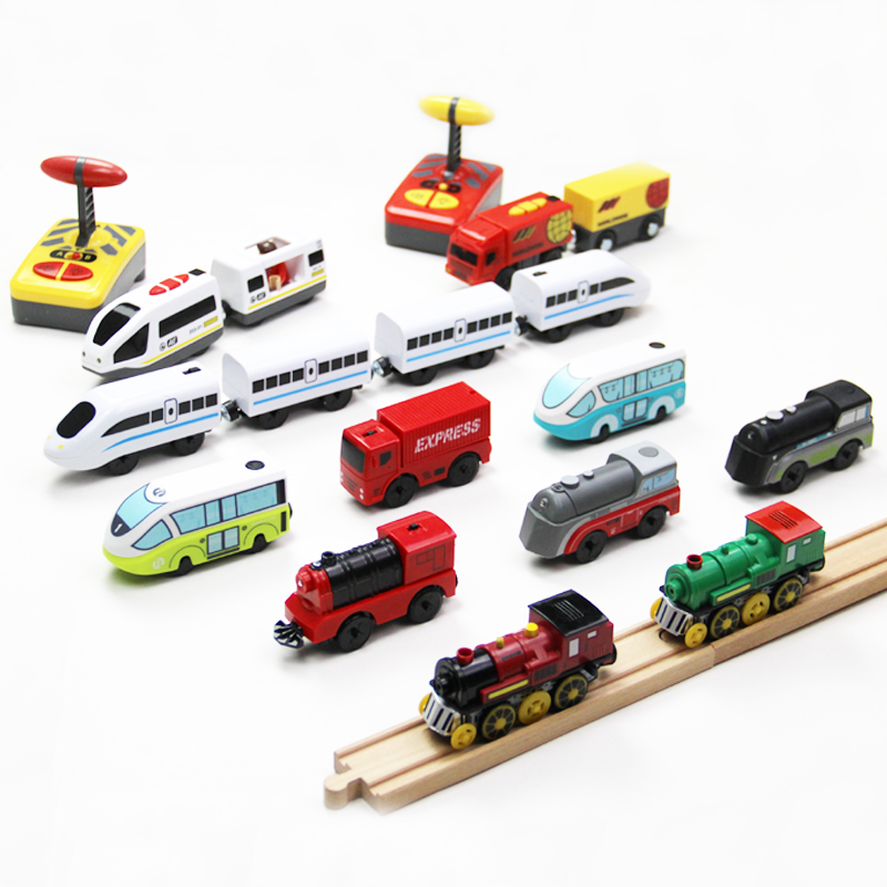 Electric RC Train Set Remote Control Toys Connected with Wooden Railway Car Tracks Birhtday Christmas Gift for Children