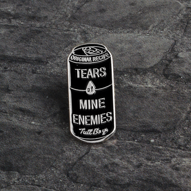 Tears of Mine Enemies Black Can Enamel Pins Badge Button pin for Lapel pin Denim Jeans clothes Punk Dark icons Brooches Gift in Brooches from Jewelry Accessories