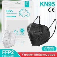 5-100 pces ffp2 máscara ce kn95 máscaras faciais para adultos preto e branco ffp2 máscaras masque nior reutilizável kn95 boca máscara facial ffp2mask