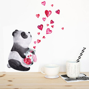 Hand drawn panda Wall Sticker Chinese style art mural Living room bedroom cabinet decoration Home Decor cute Stickers image