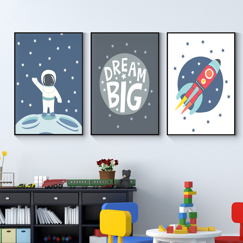 Astronaut Space Wall Art Night Sky Nursery Decor Scandinavian Canvas Poster Baby Room Decorative Painting Picture Home Decor