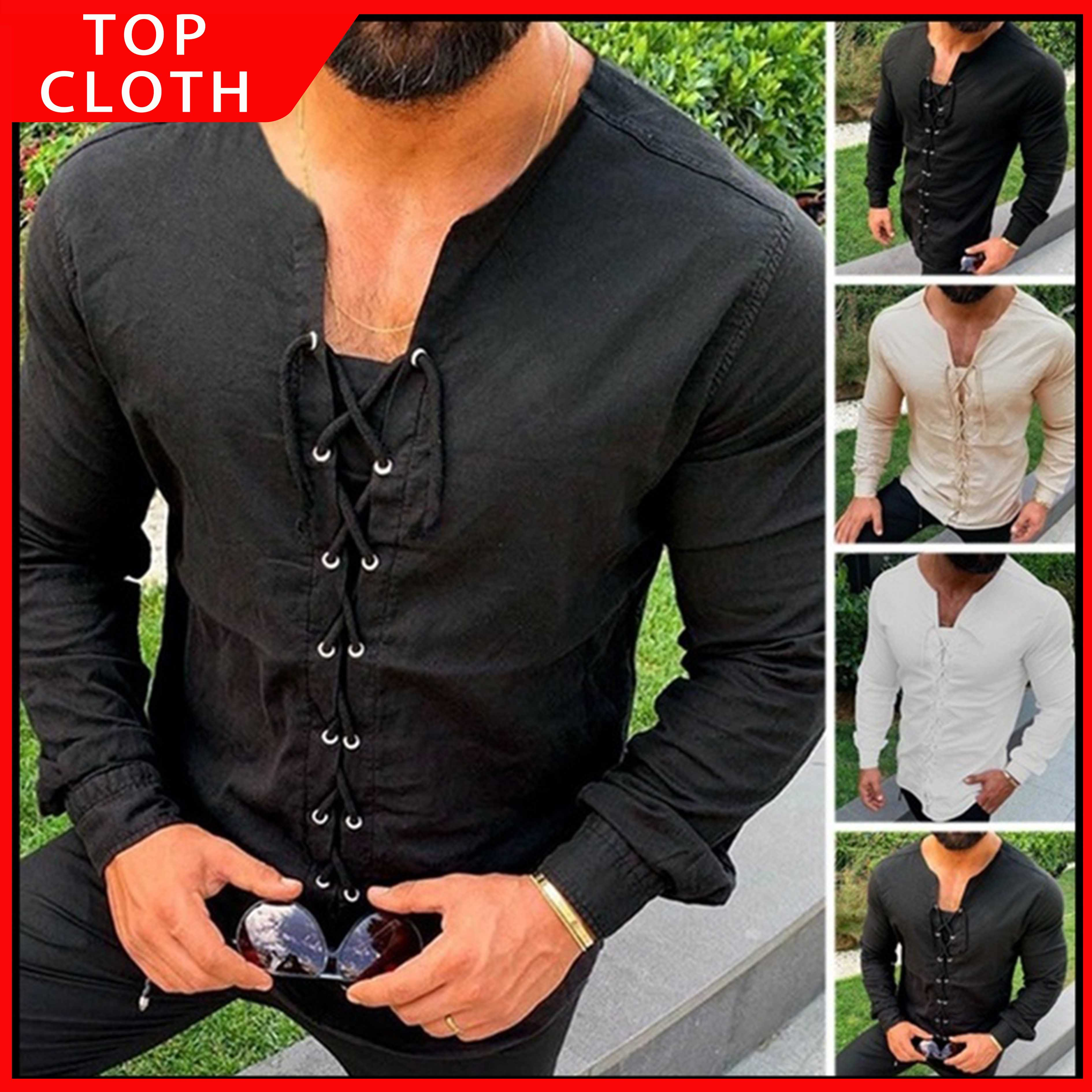 Medieval Lace-up Shirt Men Cotton Shirts Pirate Landlord Knight Warrior Tunic Casual Shirt Male Stage Performance Party Set