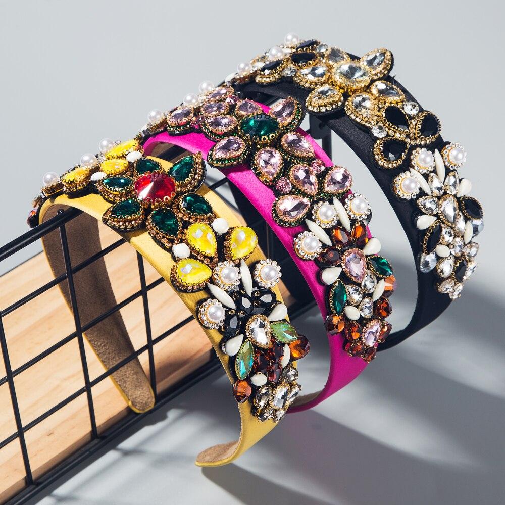 Бутик барокко яркий хрустальный цветок головная повязка для леди винтажная имитация жемчуга обруч для волос свадебный головной убор тиара ...