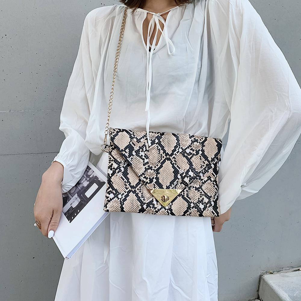 New Fashion Women's Synthetic Leather Messenger Bag Boa Snake Skin Handbag Bag Fashion Crossbody Clutch Lady Evening Bag