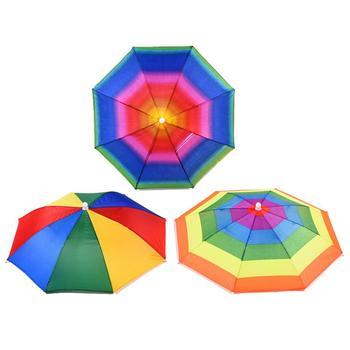 1 sztuk regulowany czapki wędkarskie składane nakrycia głowy czapka parasolka czapka sportowa piesze wycieczki czapki wędkarskie akcesoria wędkarskie Dropshipping tanie i dobre opinie CN (pochodzenie) 170T GEOMETRIC Poliester plastic Umbrella 8 bone 55CM