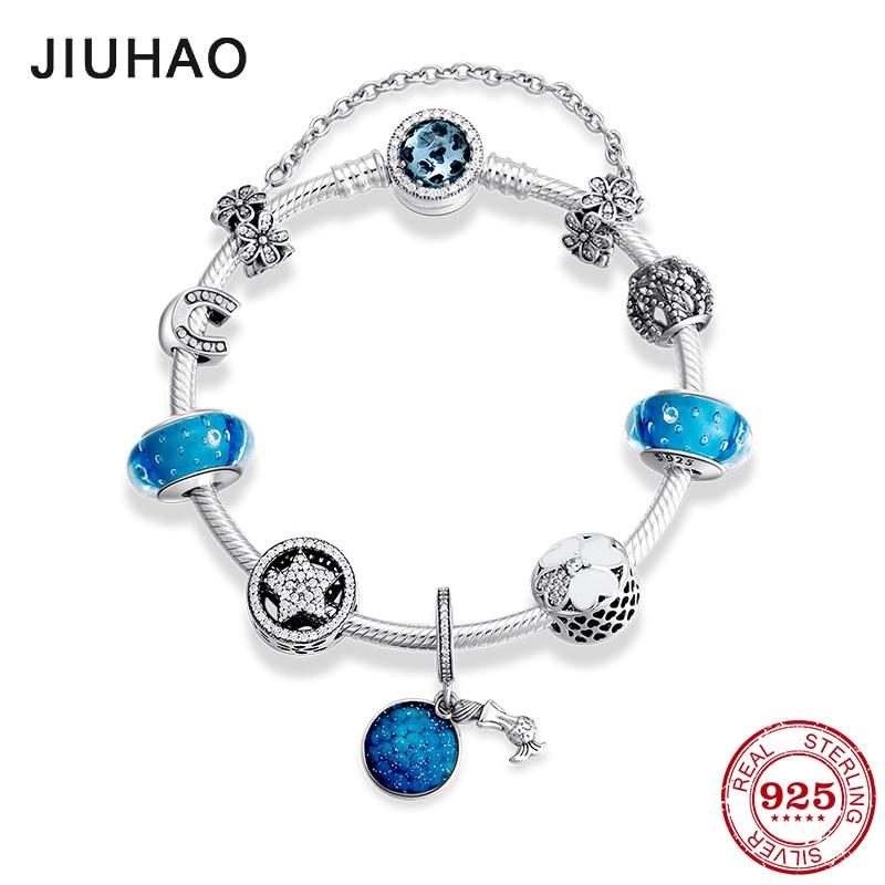 New 925 Sterling Silver Mermaid pendants Bracelets Blue Glass  Beads Charms Fashion woman Bracelet Bangles Luxury JewelryChain