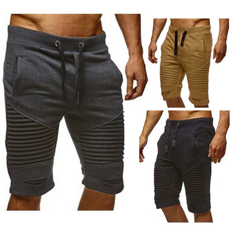 Storm Shorts Casual Athletic Pants Men's Fashion Pleated With Holes Shorts