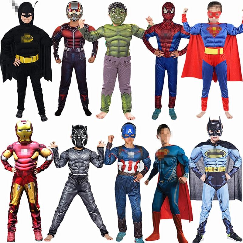 4-12Y Child Superhero Cosplay Muscle Costume  Spider Boy Long Sleeve Zipper Jumpsuit Movie Fantasy Halloween Orgy Play Kids