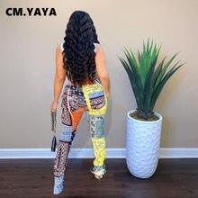 CM.YAYA-ropa deportiva para mujer, bandana con estampado de Cachemira, pantalones de jogging con abertura, ropa deportiva de retales, pantalones de chándal drapeados