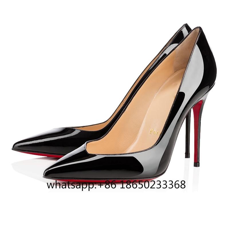 Classic Luxury Sexy Platform Pumps Clear Women High Heels 8cm 10cm 12cm Red Bottom Wedding Ladies Mules Party Dress Shoes 35-44