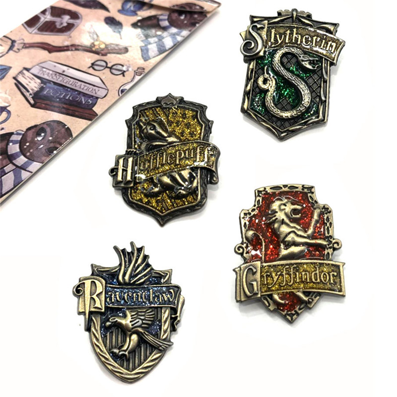 1PCS New Gen2 Hogwarts School Badge Pins Brooch Gryffindor Ravenclaw Slytherin Hufflepuff Brooches Collection 8 Types