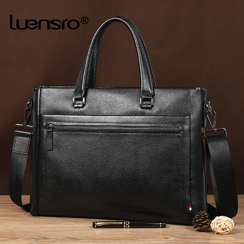 100% Real Cowhide Leather Briefcase Men Bag Multiple Compartment Men's Shoulder Messenger Bags Leather Laptop Bag Document Bag