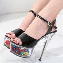 2020 New Sexy Women High Heels 15cm Summer Woman Transparent Crystal Shoes Sandals Big Size 34-43 Thin Heel Wedding Shoes Black