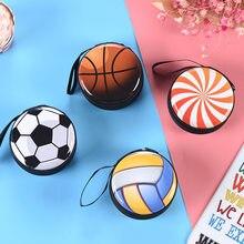Monedero con patrón de pelota de dibujos animados para niños y niñas, mini billeteras con cremallera, regalo pequeño, caja de almacenamiento