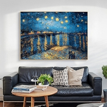 Famous Oil Paintings Starry Night By Van Gogh Impressionist Artist Wall Art Replication Posters for Living Room Cuadros 50mm van gogh art paintings refrigerator stickers starry night sunflowers fridge magnet landscape glass crystal cabochon decor