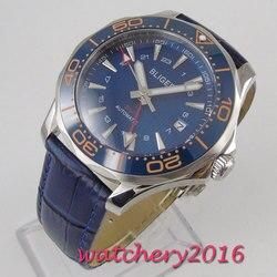 41mm bliger niebieska tarcza ceramiczna ramka szkiełka zegarka GMT szafirowe szkło luksusowa data mechanizm automatyczny męski zegarek