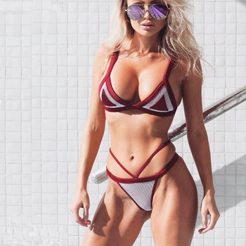 Mesh Stitching Bikini Sexy Bandage Color Matching Swimsuit Solid Triangle Swimming Pool Beach Party