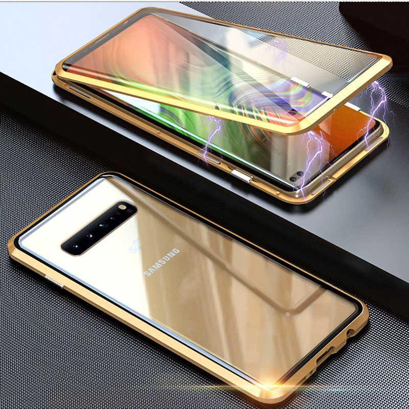 360 Magnetic Adsorption Metal Phone <font><b>Case</b></font> For <font><b>Samsung</b></font> <font><b>Galaxy</b></font> S8 <font><b>Case</b></font> S9 S10 Plus Note 10 8 9 <font><b>M20</b></font> 30 A10 A50 Tempered <font><b>Glass</b></font> Cover image