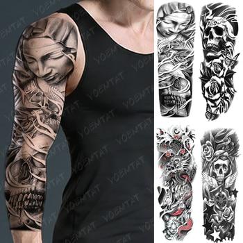 Large Arm Sleeve Tattoo Rose Angel Waterproof Temporary Tatto Sticker Skull Wings Star Body Art Full Fake Tatoo Women Men warrior angel wings cross temporary tattoo set of 1 crucifix body art mens womens