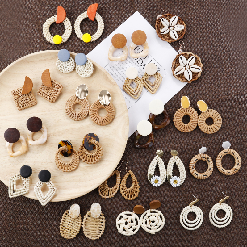 Lifefontier Bohemia Handmade Wooden Drop Earrings Straw Weave Rattan Vine Braid Round Shell Flower Earrings Geometric Jewelry