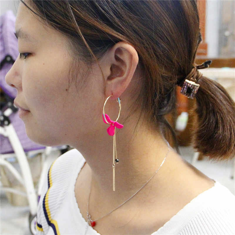 Aretes de mujer modernos 2018 design asymmetric flowers tassel earrings drop earrings jewelry earrings Korean earrings for women