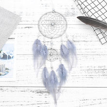 Penas azuis sonho apanhador moda casa decoração ornamento presentes de aniversário para meninas dromenvanger apanhador de sonhos bdf99