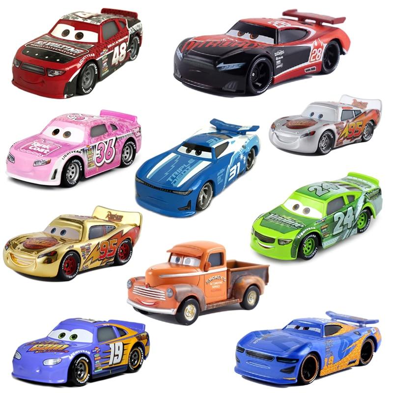 Disney Pixar-coche de juguete Cars 2 3, rayo McQueen Mater Jackson Storm Ramirez 1:55, vehículo fundido a presión, rojo No.48 No.28, entrega gratuita