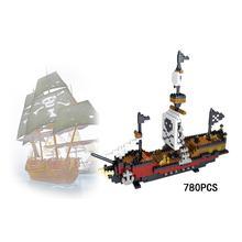 hot LegoINGlys creators Pirate Of The Caribbean Ship Black Pearl nano Micro Diamond Building Blocks model bricks toys for gifts недорго, оригинальная цена