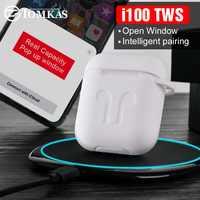 I100 TWS oryginalny 1:1 Pop-Up Bluetooth 5.0 słuchawki dla iP 7 8 X z bezprzewodowego ładowania prawdziwa bateria PK i20 i30 i200 i1000 TWS