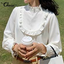 Elegant Office Dames Tops Celmia Vrouwen Blouses Lange Mouw Wit Overhemd Stand Kraag Casual Losse Ruches Blusas Femininas 5XL(China)