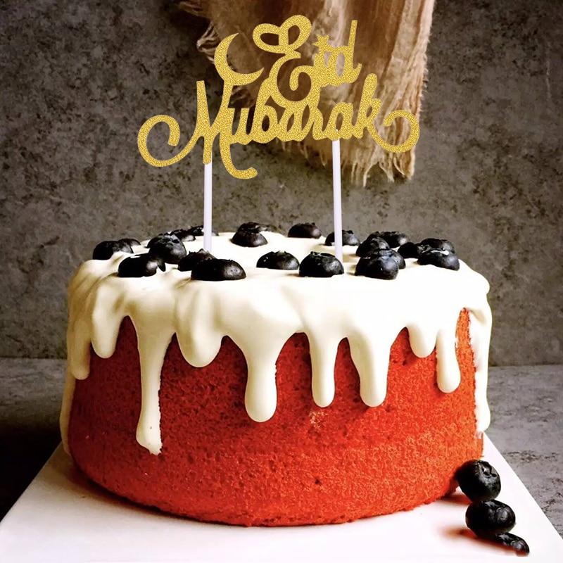 5pcs Eid Mubarak Cake Toppers Ramadan Party Decor Muslim Cake Picks Baking