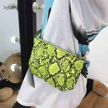 Кожаная поясная сумка со змеиным принтом для женщин, модная дизайнерская сумочка на грудь из кожи питона, флуоресцентная зеленая, 2020