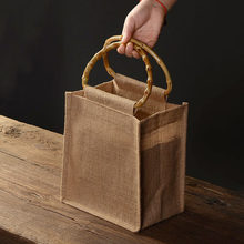 Reusable natural linen gift bag bamboo handle environmental