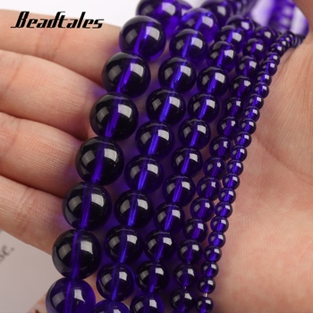 Natural Stone Blue Glass Beads Round Blue Loose Beads For Jewelry DIY Making Bracelet Accessories 15 4/6/8/10/12mm Beadtales image