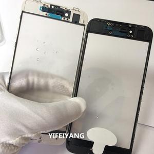 Image 4 - 10 sztuk jakości zimnej prasy przednia szyba zewnętrzna z OCA z ramką dla iphone 5 6 6plus 6s plus 7 7plus 8 plus X szkło + rama + OCA