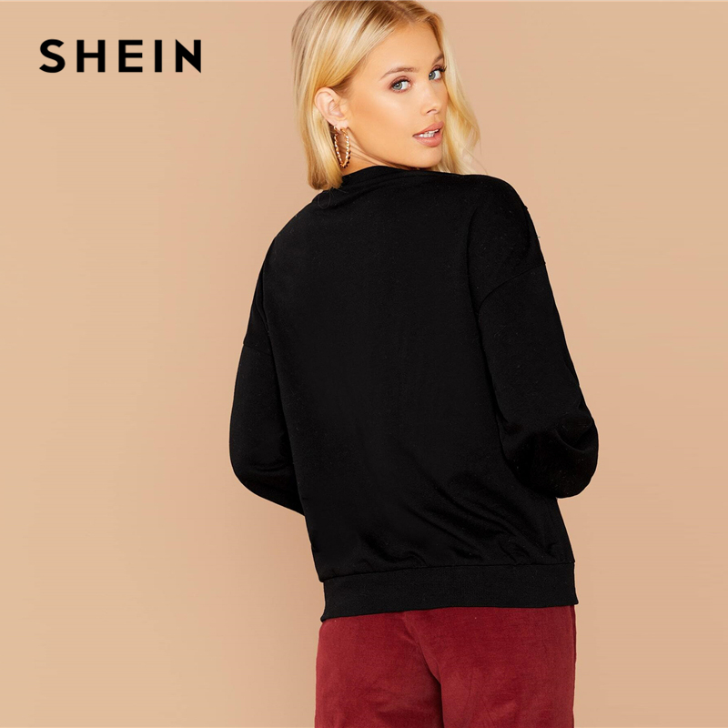 SHEIN Black Contrast Colorful Sequin Front Pullover Women Spring Autumn Sweatshirt Long Sleeve Casual Glamorous Sweatshirts 2