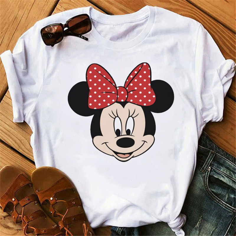 Maycaur Harajuku Cartoon Mouse Printing T-shirt Women's Fashion Graphic Printed Tshirt O-neck Short Sleeve White Shirt Women Top